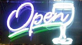Our wineglass open sign